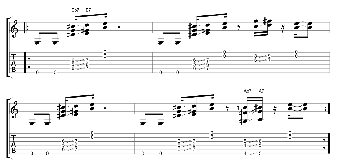 Intro To Funk Guitar 8 Example 3 Open String Chord Fragments