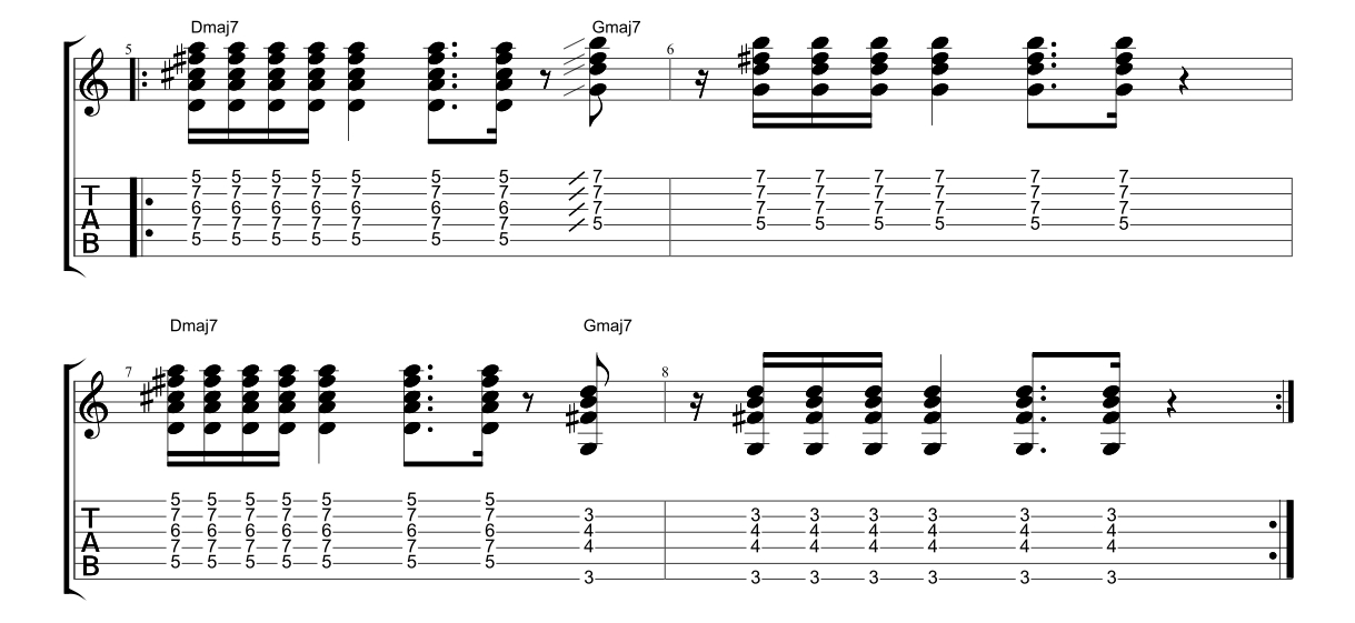 Introduction-to-Funk-Guitar-Example-2-Dmaj7-Barre-Chords ...